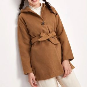 Girls Brown Belted Coat with Hood